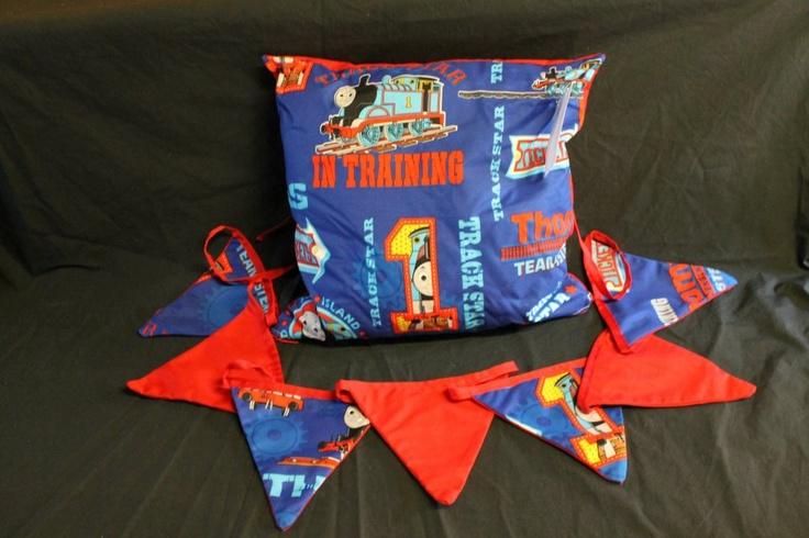 Thomas the Tank Cushion Cover & Bunting  http://www.facebook.com/MadeBySarah