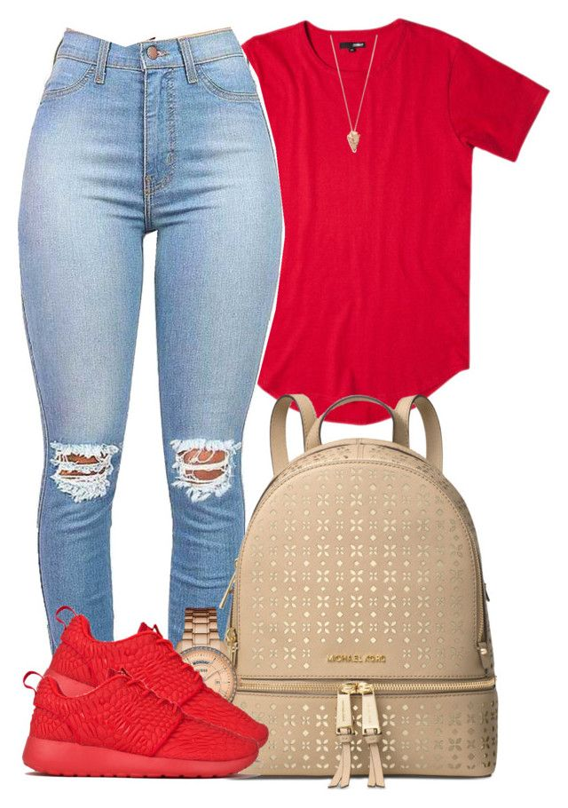 """When I look outside my Window I can't get no piece of Mind."" by bria-myell ❤ liked on Polyvore featuring Michael Kors, GUESS, NIKE and Pamela Love"