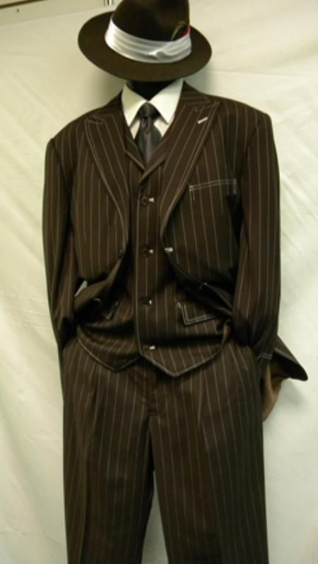 1940s brown striped suit. Zoot Suit By Milano Moda Brown White Gangster Stripe 3 Piece $139.00 AT vintagedancer.com