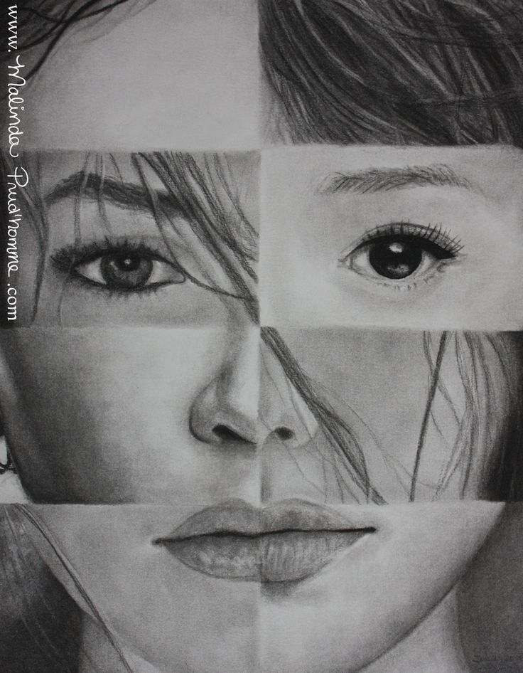 """""""One And The Same"""" 'See' By Malinda Prudhomme $20.00 - Ethnic Art, Multiculturalism, Racism, Female Beauty, Asian Woman, Chinese Woman, Spanish Woman, Charcoal Drawing, Award Winning Art"""