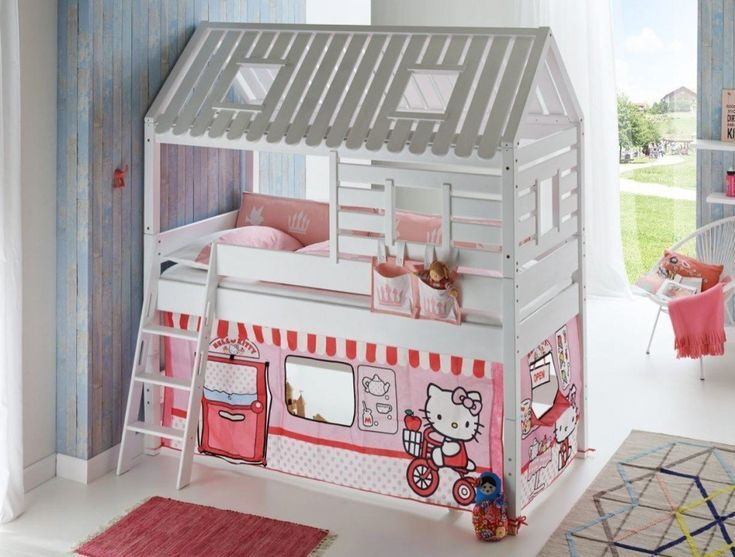 Hochbett Tom S Hutte 2 Kinderbett Spielbett Bett In Weiss Mit