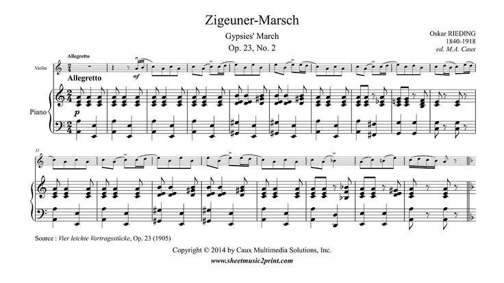 Rieding : Zigeuner-Marsch - Gypsies' March, Op. 23, No. 2 www.sheetmusic2print.com/Rieding/Zigeuner-Marsch-23-2.aspx