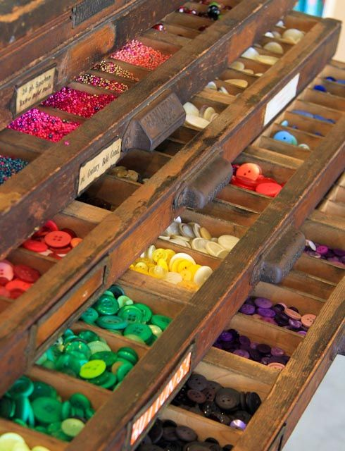 Store beads and buttons in typecase drawers!