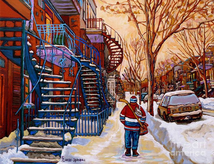Montreal Beautiful Staircases In Winter Walking Home After The Game By Carole Spandau Painting