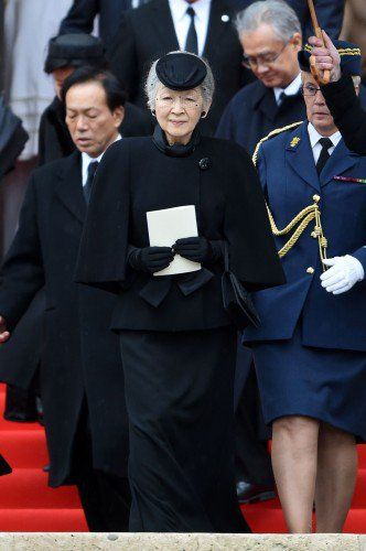 Empress Michiko of Japan attends the funeral of Belgian Queen Fabiola Dec 12, 2014.