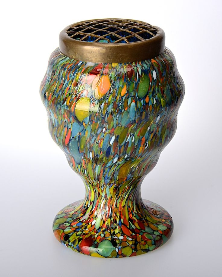 Vintage c1930s Czech multi-coloured Spatter tiered, footed, glass posy vase with metal frog. http://www.antiques-atlas.com/antique/vintage_c1930s_spatter_glass_vase/as645a059