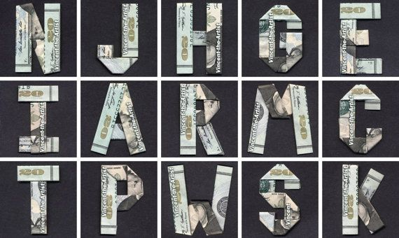 Money Origami Letters Made of Twenty by VincentOrigamiArtist