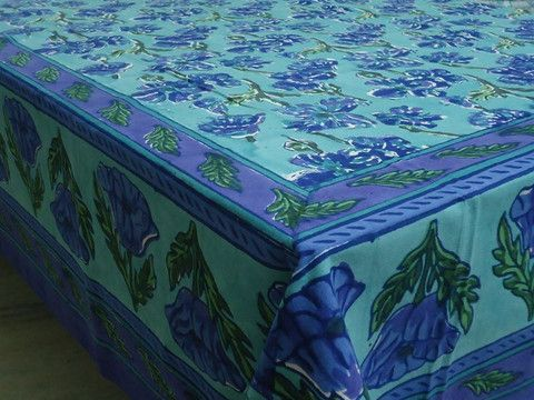 Nice Block Printed By Hand Using Carved Wooden Blocks. 6 To 8 Seater, 150 X Made  In India.