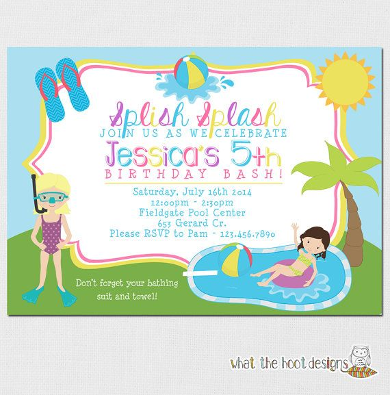 Pool Party Invitation Kids Pool Party by whatthehootdesigns