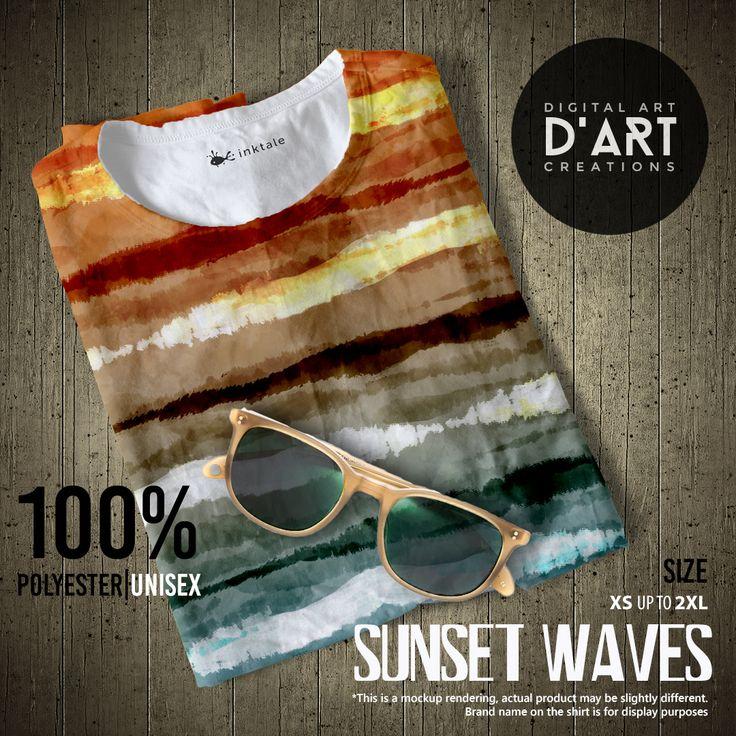 SUNSET WAVES --- Cool tie dye design to call those summer vibes --- #tiedye #surf #vintage #sixties #summer #beach #hippie #ocean #sea #waves #unisex #tshirt #shirt #tee #beachfashion #fashion #summerfashion #formen #forwomen #digitalartcreations #inktale