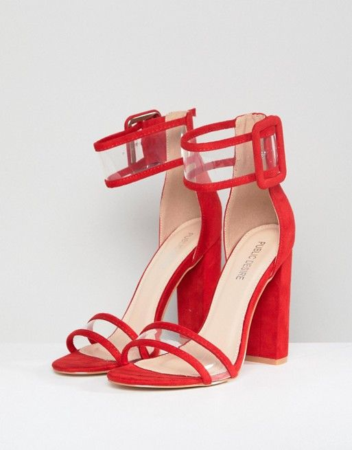 59bbc9a6a022 Public Desire Mission Red Clear Strap Block Heeled Sandals