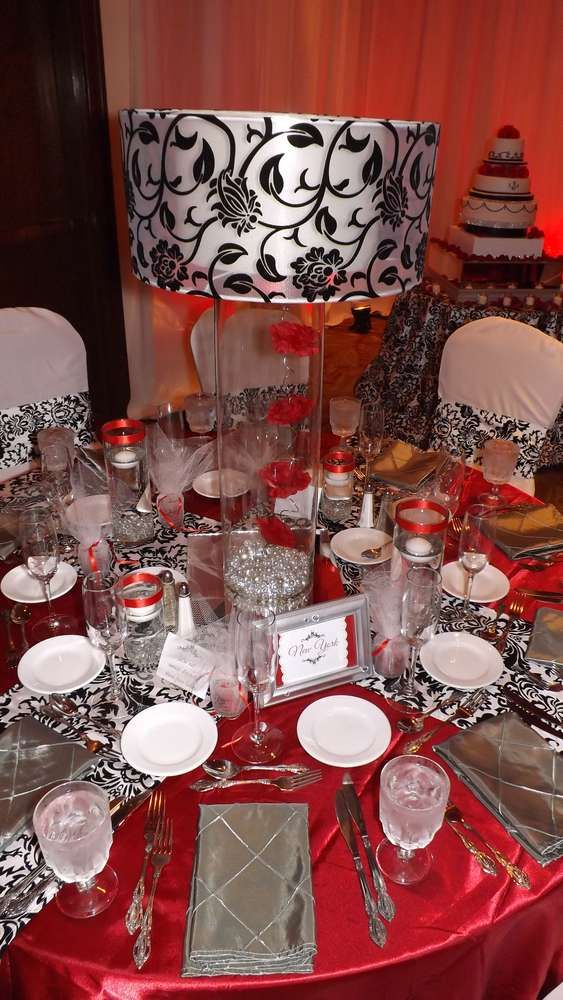 9 best images about red black n white party decor on - Black silver and white party decorations ...