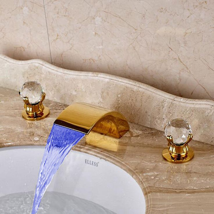 LED Widespread Two Crystal Knobs Bath Basin Faucet Gold Waterfall Sink Mixer Tap #shinesia