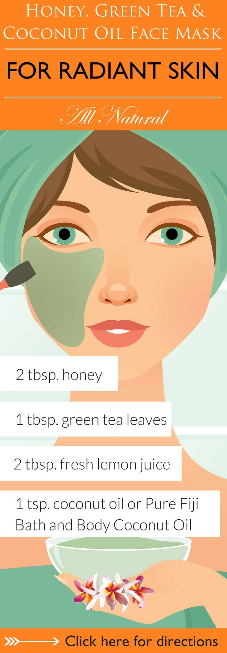 Beauty Hacks | This combination of anti-oxidant rich green tea, soothing coconut oil, lemon and detoxifying honey will leave your skin feeling moisturized and radiant. Click here to learn 6 DIY coconut oil face mask recipes for you to try that are sure to leave your skin soft, supple and radiant http://www.purefiji.com/blog/coconut-oil-face-masks/