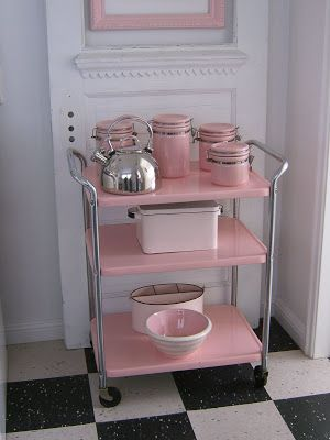 Adorable table in pink lemonade for entertaining guests!  (I have a cart like this...  I wonder if I could paint it?? MWR)