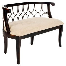 """A perfect addition to your mudroom or foyer, this birch wood bench showcases an open fretwork back and upholstered seat.   Product: BenchConstruction Material: Birch and fabricColor: Dark brownFeatures: Open fretwork backDimensions: 28"""" H x 48"""" W x 18.25"""" D"""