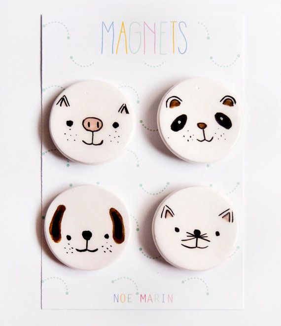 Fridge ceramic magnet Refrigerator magnet Animals par noemarin
