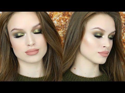 OLIVE GREEN METALLIC SMOKEY EYE & NUDE LIPS ❤ Fall makeup tutorial - YouTube