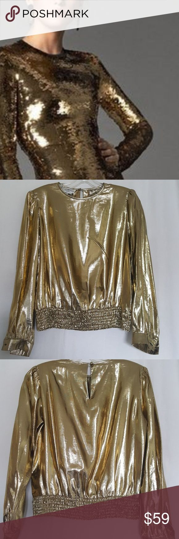 Vintage Lloyd Williams Gold Lame Metallic Blouse Vintage Lloyd Williams Gold Lame Long Sleeve Metallic Blouse,  glamorous mint condition vintage long sleeves, one button cuff blouse.  Round neckline,  with one button keyhole back closure, gathered waistband for a classic look. Easily removable shoulder pads. This blouse is liquid hold. True to size.  Mint vintage condition. (2 extra buttons) Length measures 22 inches.  Sleeve measures 23 inches in length.  Armpit to armpit measures 20…