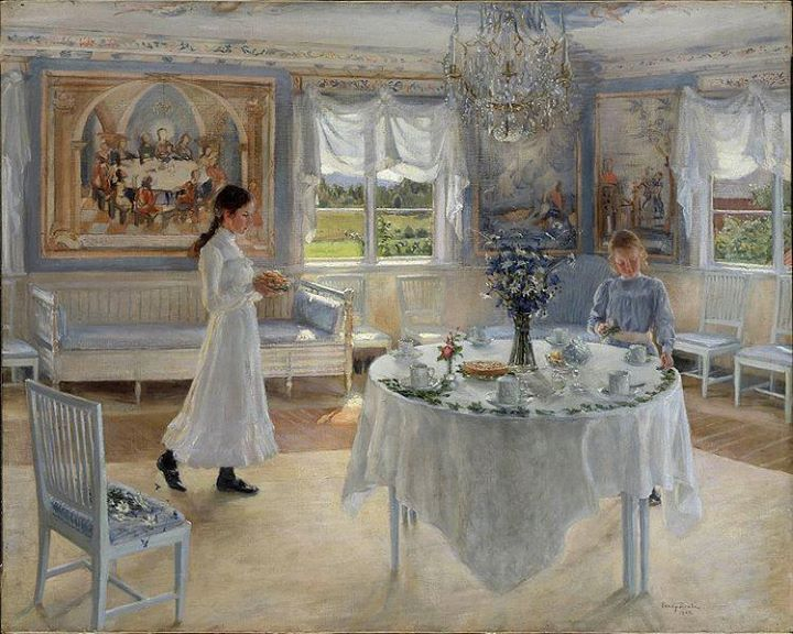 Classical Swedish interior lovingly painted by Carl Larsson.