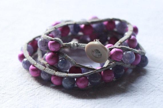 Pink and purple triple wrap bracelet by TipToeTulipJewellery, $60.00