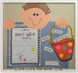 cutie bucket filler freebies plus a ($2.00) craftivity! via: First Grade Fever!: I Can Be a BUCKET FILLER Craftivity!