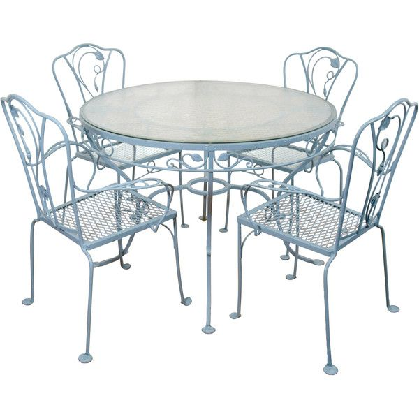 Vintage Salterini Wrought Iron Table And Chairs In Powder Blue ❤ Liked On  Polyvore Featuring Home · Outdoor Tables And ChairsOutdoor Dining ...