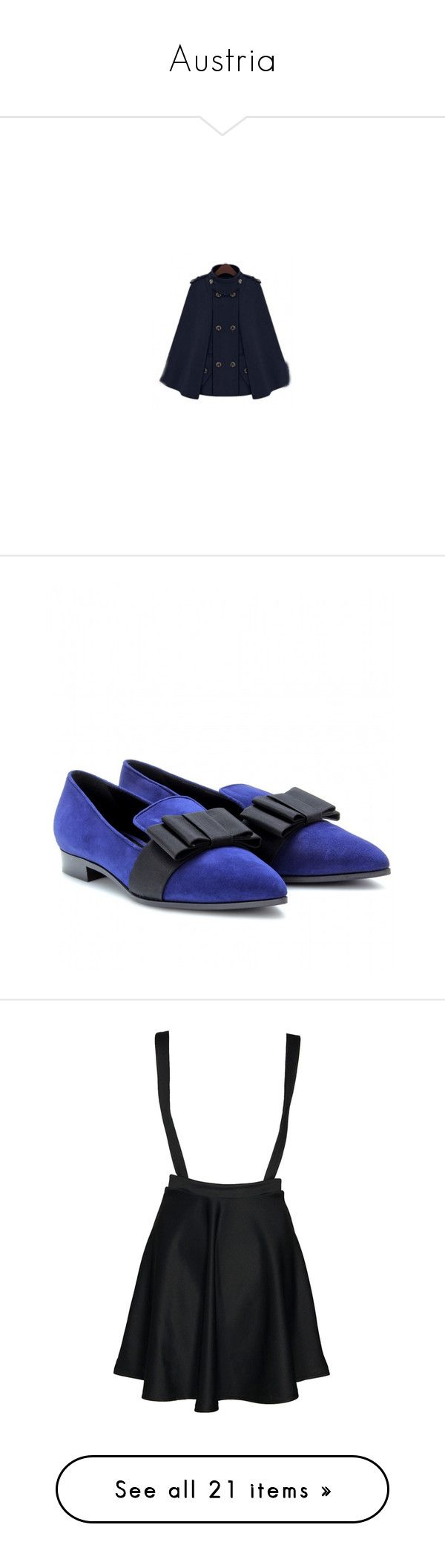 """Austria"" by whiterabbitmadness ❤ liked on Polyvore featuring shoes, suede loafers, slippers shoes, black loafers, blue suede shoes, kohl shoes, skirts, bottoms, dresses and saias"