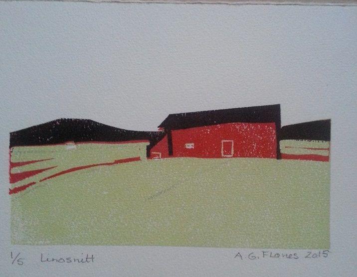 """The Barn"", Linoprint"