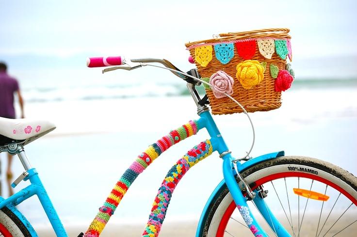 colorful crochet bike