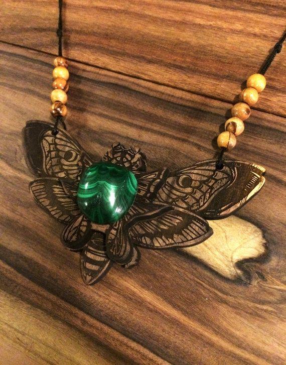 Hawk Moth Amulet - Brazilian Rosewood with Malachite