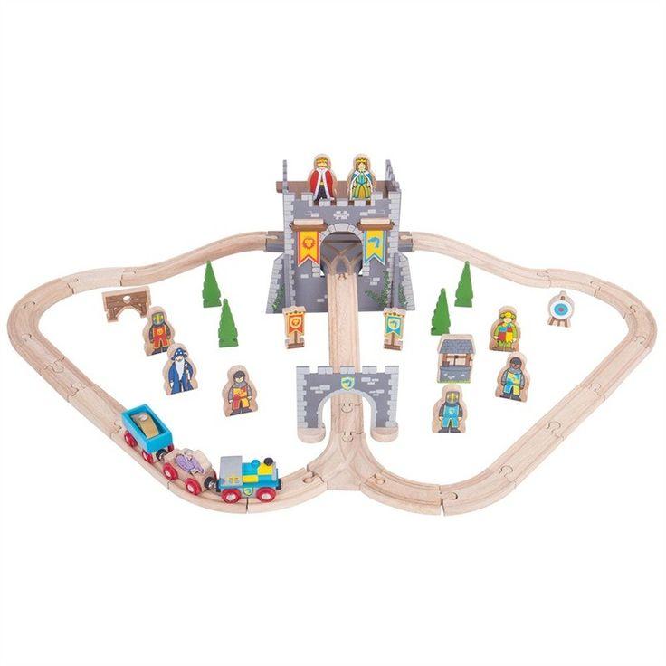 Met de BigJigs treinset Middeleeuwse Kasteel waan je in de wereld van de ridders. De set bestaat uit 46 delen zoals speelfiguren, complete treinrails, kasteel en bomen. Afmetingen: 95 x 16 x 51,5cm - Bigjigs Middeleeuwse Kasteel Treinset 46 delig