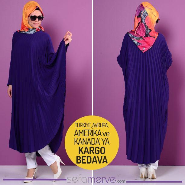 Piliseli Krep Uzun Tunik 2049-07 Mor #sefamerve #tesetturgiyim #tesettur #hijab #tesettür #tunik