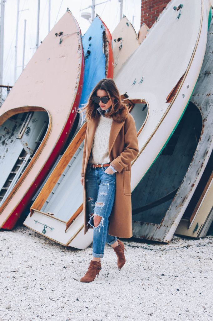 Camel Coat and Ankle Boots