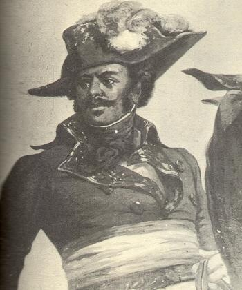 General Thomas-Alexandre Dumas (1762-1806)  He was the son of a nobleman and a Haitian slave. Educated in France, he rose in the military to be the first black general in the French Army. He fought in Italy and Spain before losing favor with Napoleon for objecting to the reinstitution of slavery.