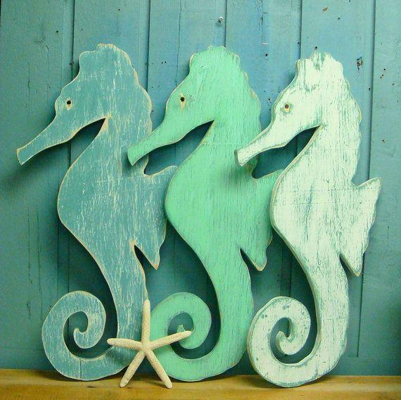 Large Turquoise White Weathered Wood Seahorse by CastawaysHall, $59.00 ...