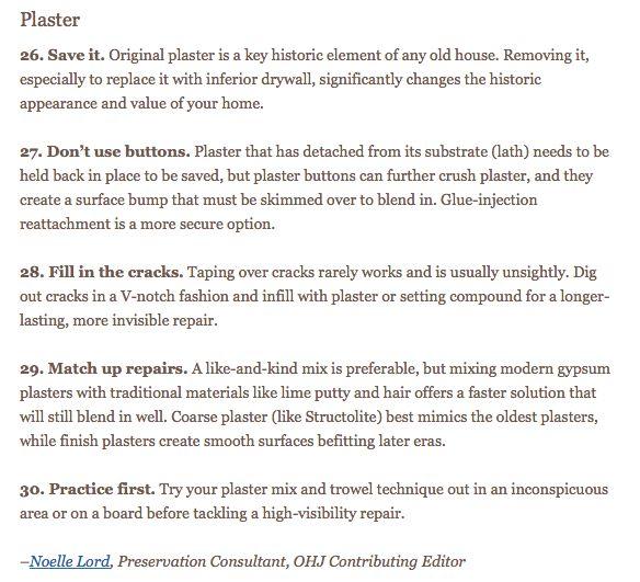 PLASTER Restoration: Coarse plaster (like Structolite) best mimics the oldest plasters