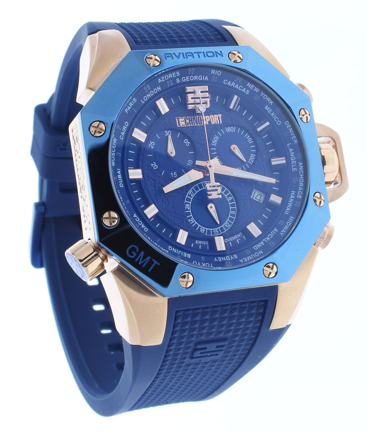 Technosport TS-100-3AV Men's Blue & Rose Gold World Timer Swiss Chrono Watch