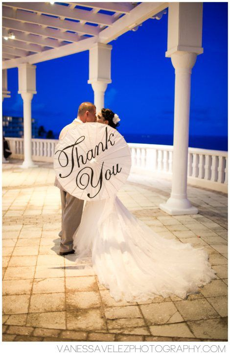 "Remember to capture a ""thank you"" photo to send to your guests as a spin on traditional thank you cards. Photo at Trellises at El Conquistador Resort. Destination Wedding 