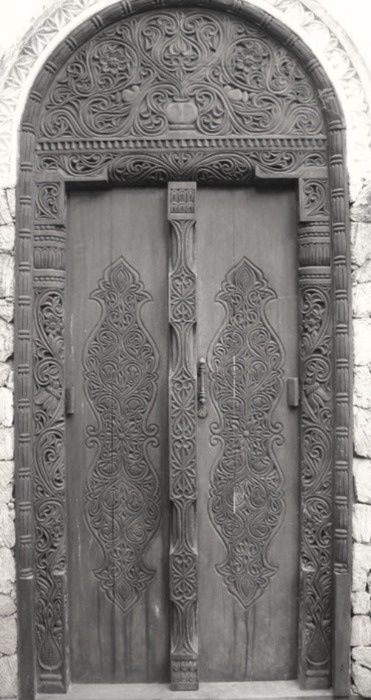 Romanian wooden door with traditional pattern