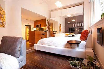 Inspirational Small Apartment Decorating IdeasSmall Apartments, Decor Ideas, Apartments Ideas, Interiors Design, Small Spaces, Studios Apartments, Apartments Decor, Modern Bedrooms, Apartments Design