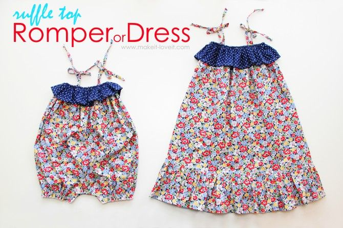 Cute Romper and Dress Tutorial from Make It and Love it.: Tops Dresses, Dresses Tutorials, Free Pattern, Rompers Tutorials, Girls Dresses, 4Th Of July, Ruffles Tops, Dresses Patterns, Sewing Kids