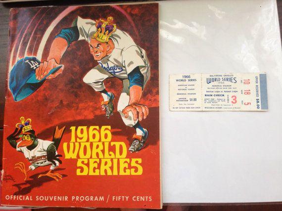 1966 World Series Los Angeles Dodgers Program and Ticket Stub