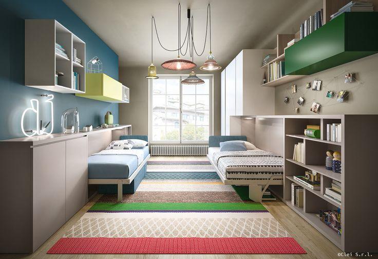 La camera per bambini salvaspazio composta da due letti verticali, l'armadio e la scrivania.