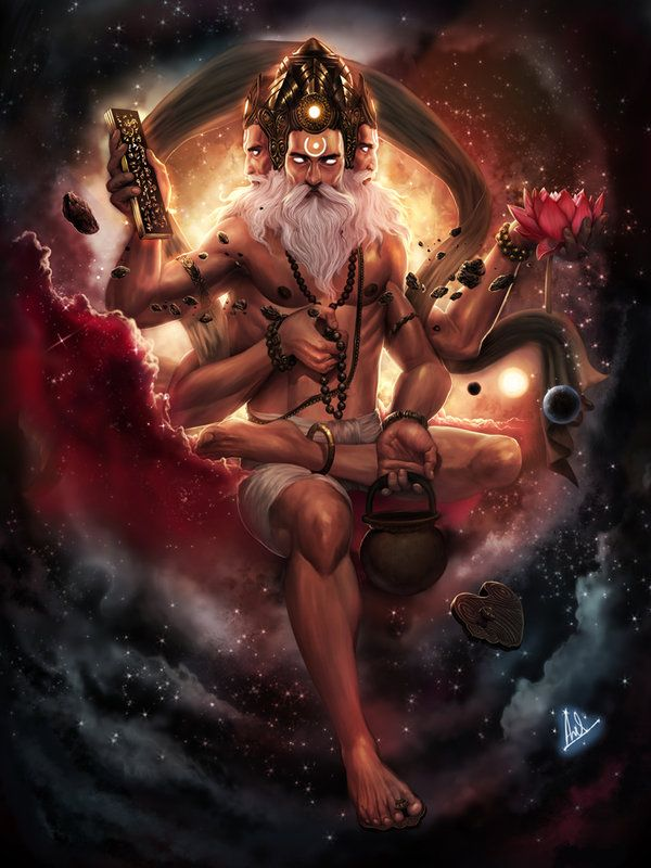 Brahma, the creator god. He has four crowned heads, and four arms holding prayer beads, a book, a lotus, and gold. His mount is the swan.