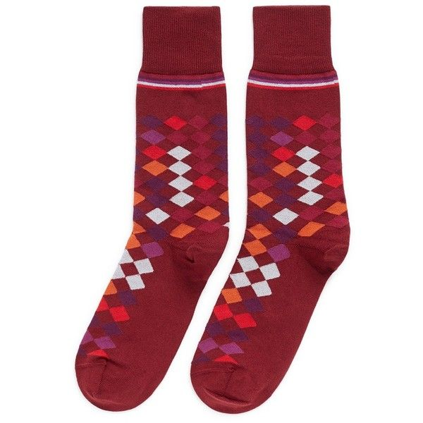 Paul Smith Falling diamond socks (240 CNY) ❤ liked on Polyvore featuring men's fashion, men's clothing, men's socks, red, mens red socks and paul smith mens socks