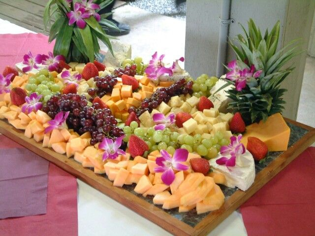 Tropical Fruit Platter For A Beach Wedding: Tropical Fruit Tray With Orchids