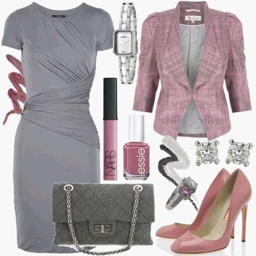 Какие аксессуары допустимо носить с серым платьем