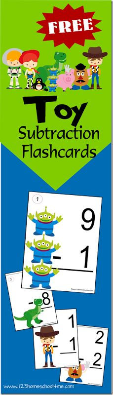 Free Toy Story Math Subtraction Cards