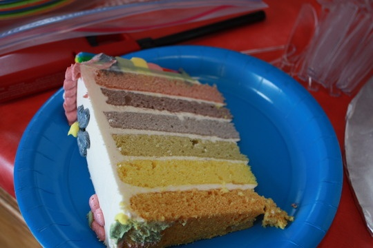 Rainbow cake with \'natural\' plant based food coloring. More muted ...